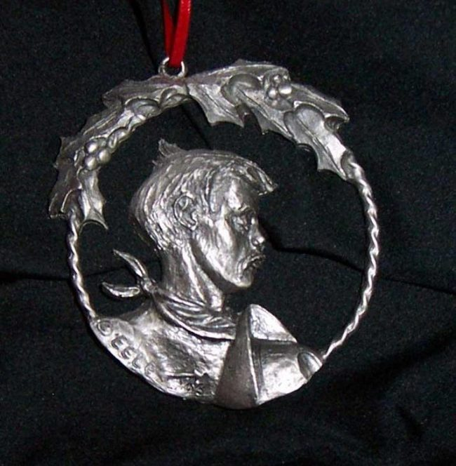"""Cowboy - Western Christmas Ornament Linda Egle. These Christmas ornaments are of the western flavor. The images are all worked over a 3 1/4"""" rope circle and cast in pewter."""