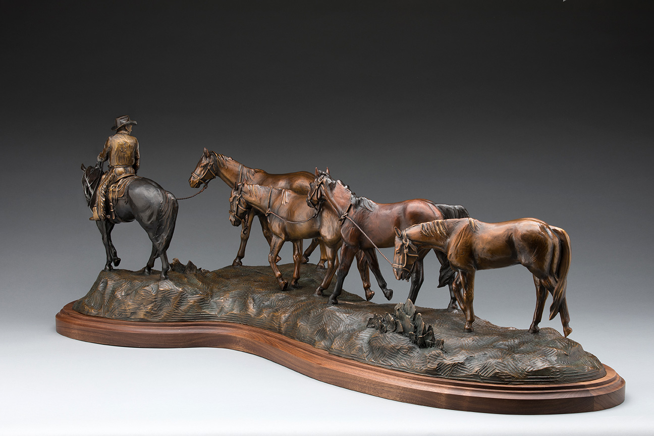 """""""Got Oats?""""""""Got Oats?"""" - Bronze horse statue - Bronze of horses at feeding time -"""