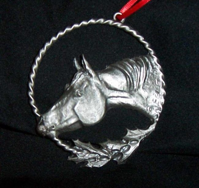 "Horse - Western Christmas Ornament Linda Egle. These Christmas ornaments are of the western flavor. The images are all worked over a 3 1/4"" rope circle and cast in pewter."