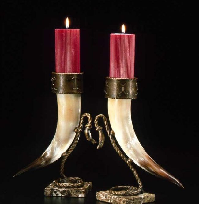 "Longhorn Candle Holders by Linda Egle ""13"" - 15"" High with 2.5"" or 3"" cup Every pair is a different color"